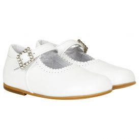 Diamonte Buckle Shoes White Patent