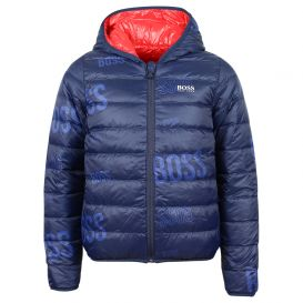 Navy & Red Reversible Puffer Jacket