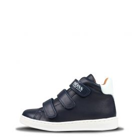 White Logo High Top Trainers Navy