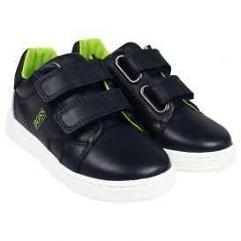 Green Logo Trainers Navy