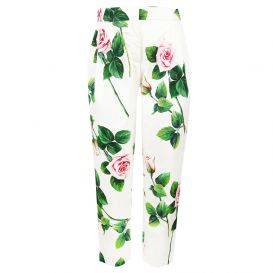 White Floral Trousers