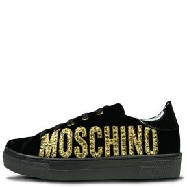 Gold Logo Velvet Trainers Black