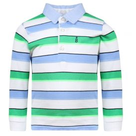 Long Sleeve Stripe Polo Shirt Mint