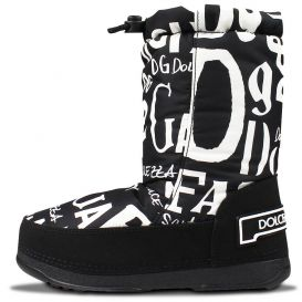 Contrast Logo Snow Boots Black