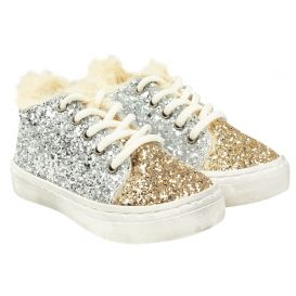 Fur Lined Glitter Trainers Silver