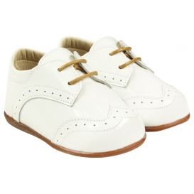 White Patent Lace Up Shoes