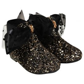 Bow Glitter Boots Gold