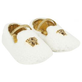 White Shearling Slip On Loafers