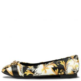 Patterned Ballerina Shoes Black White & Gold