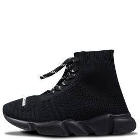 Logo Lace Up Sock Trainers Black
