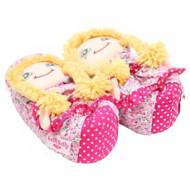 Blonde Hair Doll Slippers Pink