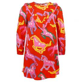 Horse Pattern Twill Dress Red