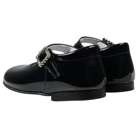 Scallop Trim Shoes Navy Patent