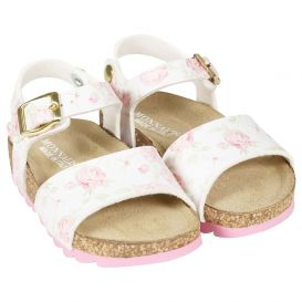 White & Pink Floral Sandals