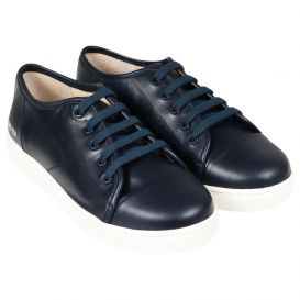 Leather Logo Trainers Navy