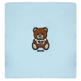 Embroidered Bear Blanket Blue