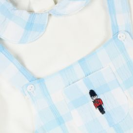 Check Soldier Short Dungarees Set Blue & White