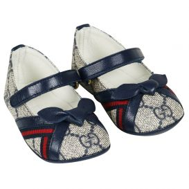 Gucci Patterned Ballet Shoes Navy