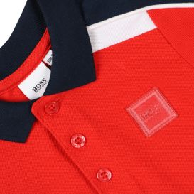 Young Boys Colour Block Polo Shirt Red