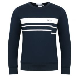 Contrast Striped Sweatshirt Navy