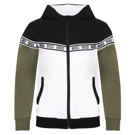 Coloured Block Zip Up Hoody Black & White