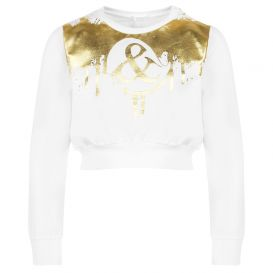 Gold Foil Drip Sweatshirt White