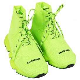 Neon Lace Up Sock Trainers Yellow