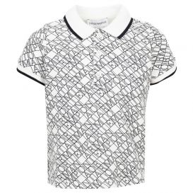 Emporio Armani Repeat Print Polo Shirt White