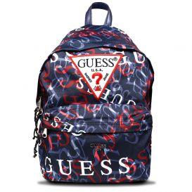 Navy Repeat Logo Backpack
