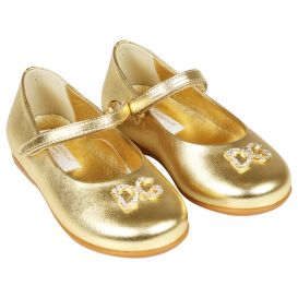 Leather Logo Shoes Gold