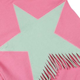 Star Fringe Trim Dress Pink