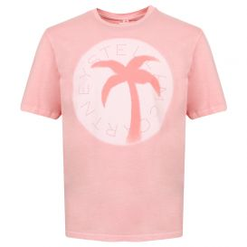 Pink Palm Tree Circle Logo T Shirt