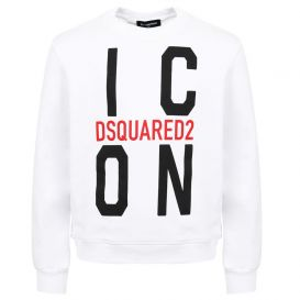 Large Icon Logo Print Sweatshirt White