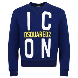 Large Icon Logo Print Sweatshirt Blue