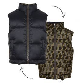 FF Reversible Logo Down Padded Gillet Brown & Black