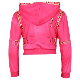 Chain Zip Up Sweatshirt Fuschia