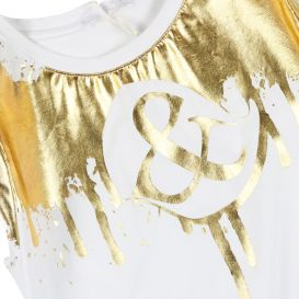 Off White & Gold Foil Dress