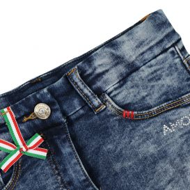 Blue Denim Shorts With Red Trim