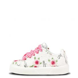 Chunky Rose Print Trainers White
