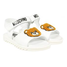 White Sandals Teddy Logo