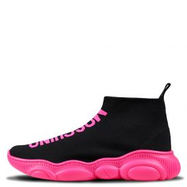 Black & Pink Low Sock Trainers