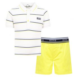 White Polo & Yellow Shorts Set