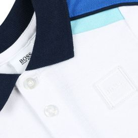Baby Colour Block Polo Shirt White