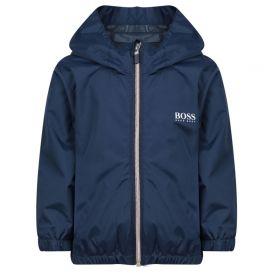 Boss Navy Hooded Zip Up Jacket