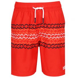 Logo Print Red Swim Shorts