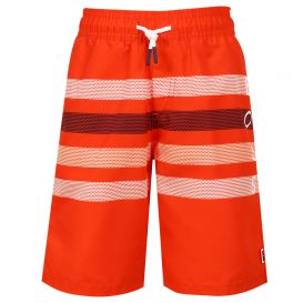 Bright Striped Swim Shorts Red