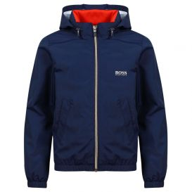 Logo Zip Rain Jacket Navy