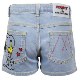 Blue Denim Snoopy Character Shorts