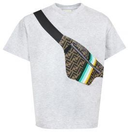 Crossbody Bag Print T Shirt Grey