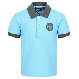 Blue Medusa Logo Polo Shirt